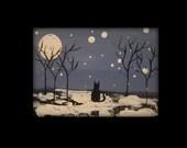 Cat Winter Is Coming Snow Landscape Winter Landscape ACEO Original by Marsha Mahan Small Art Winter Wonderland