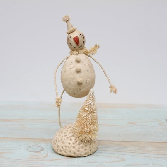 Snowman Christmas Folk Art Holiday Decoration