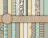 24 Pack Digital Paper - Gray Green Yellow Beige - Damask Floral Geometric - 300 DPI - 24006