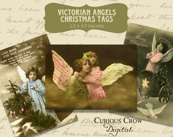 Victorian Angels Christmas Gift Tags Digital Collage Sheet -  INSTANT Printable Download - 2.5 x 3.5 ACEO ATC - Vintage Photos