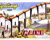 Greetings From Portland Maine Large Letter Antique Postcard Digital Image Download No. 15225 Buy 3 Images and get 2 Free