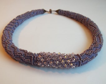 Bead crochet  necklace. Lilac crocheted necklace.