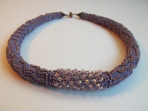 Black Friday sale. Use coupon Blackfriday15. Bead crochet  necklace. Lilac crocheted necklace.