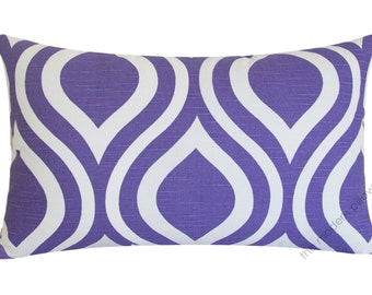 Lavender Purple and White Thistle Decorative Throw Pillow Cover / Pillow Case / Cushion Cover / Cotton / 12x20""