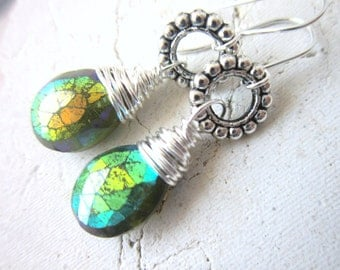 Vesuvianite Drop Earrings. Faceted Dangle Earrings. Wire Wrapped Briolette Earrings. Vesuvianite Jewelry. Gemstone Jewelry