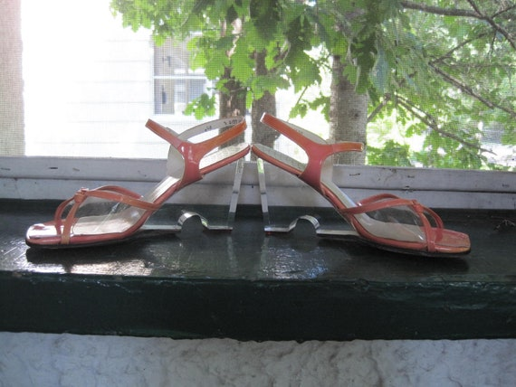 Lucite Platforms Shoes with Melon Patent Leather Size 7.5 B  Marshall Fields Stanley Philipson Coral Color