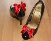 Rockabilly red/black polka dot shoe bows with cherry centres