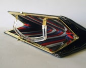 50s or 60s AUDREY HEPBURN BAG Vintage Black Patent Leather Structured Frame Clutch with Clear Acrylic Lucite Handle and Gold Detail