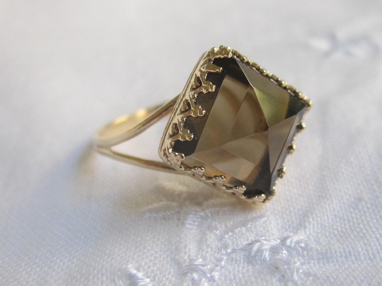 Smokey Quartz Ring Gold Ring Square Ring Vintage Ring