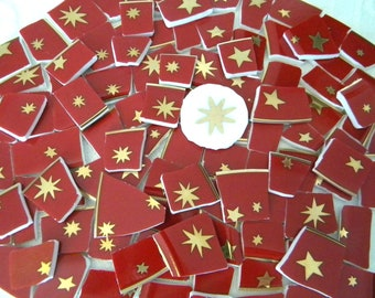 Mosaic China Tiles - GOLD Galaxy Stars on RED - Recycled Broken Plates - 100 Tiles