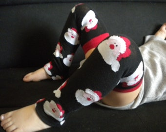 Baby Legwarmers Santa Black Christmas/Holiday