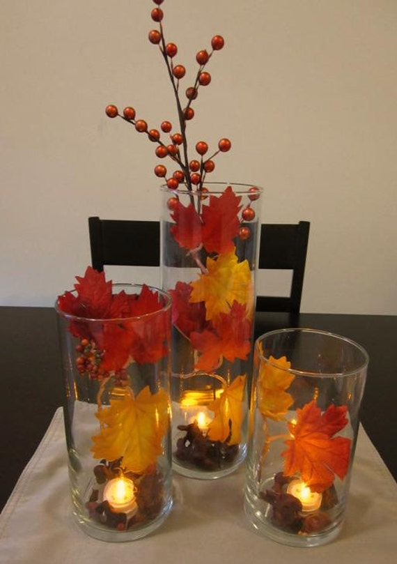 Fall Leaf Centerpiece : Items similar to autumn leaves centerpiece with orange led