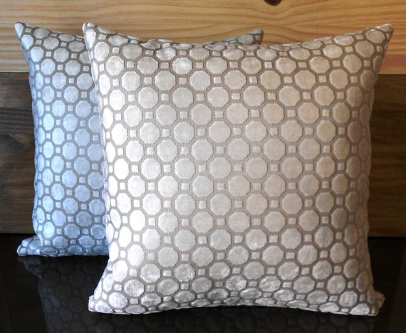 Decorative Pillow With Pearls : Geometric velvet decorative pillow in pearl by pillowflightpdx