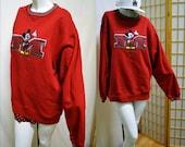 Vintage Mickey Mouse Sweater Jumper Varsity Letter Jacket style Medium