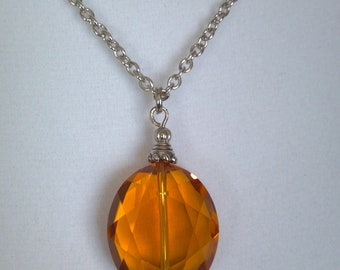 Amber Multifaceted Crystal Necklace