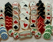 Casino Poker Party Mega Party Pack Hand Decorated Cookies- 63 total cookies (#2325)