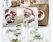 Stickers Handmade  Victorian Christmas Santa Retro