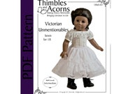 PDF Pattern for Victorian Unmentionables Set  for 18 inch American Girl Doll, by Thimbles and Acorns