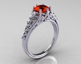 Classic French 14K White Gold 1.0 Carat Padparadscha CZ Diamond Lace Ring R175-14WGDPCZ