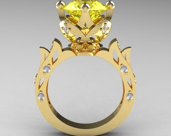 Modern Antique 14K Yellow Gold 3.0 Carat Yellow Topaz Diamond Solitaire Wedding Ring R214-14KYGDYT