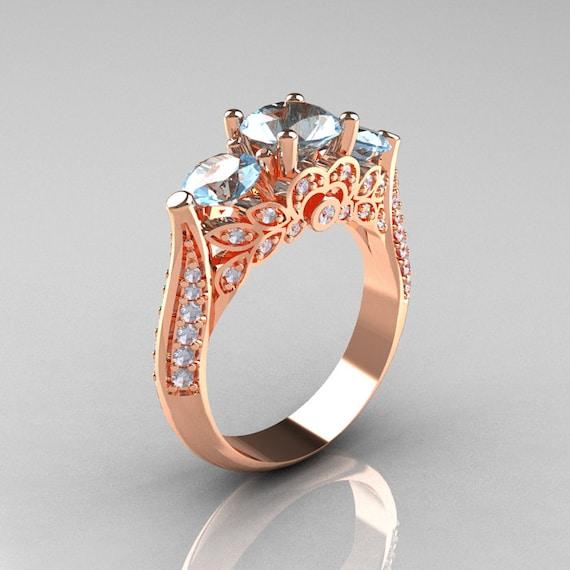 Classic 14K Rose Gold Three Stone Diamond Aquamarine Solitaire Ring R200-14KRGDAQ