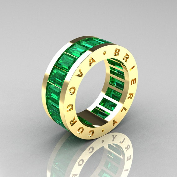 Mens Modern 14K Yellow Gold Emerald Channel Cluster Infinity