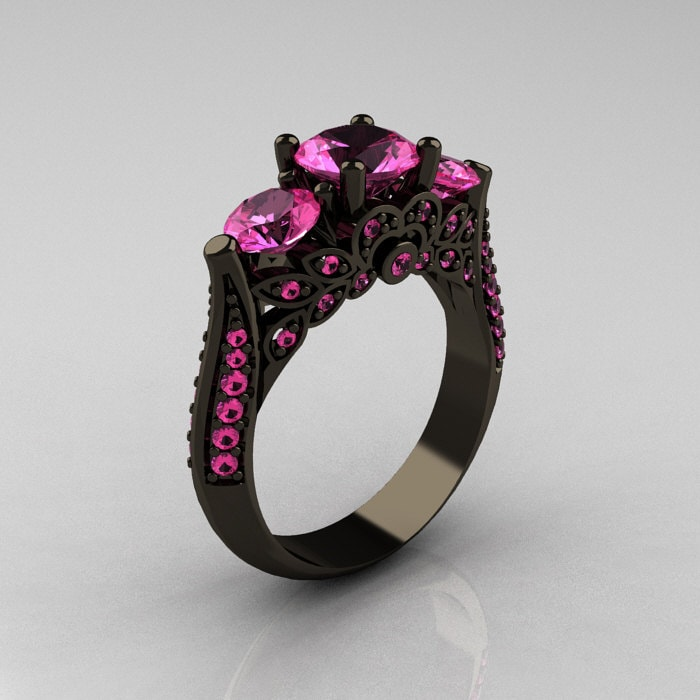 Classic 14K Black Gold Three Stone Pink Sapphire Solitaire