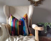 20'' Modern Multi-color Bright Paint Stroke Pillow Cover