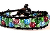 Wrap Bracelet - Button Clasp - Glass Beads - Faux Leather - Chan Luu Style