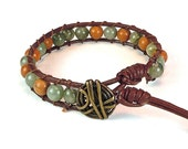 Gemstone Bracelet - Wrap Bracelet - Leather Cord - Button Clasp