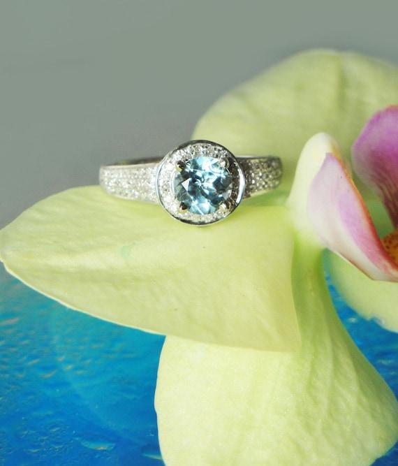 Aquamarine Ring 14K Gold With Diamonds RARE Maine USA Location