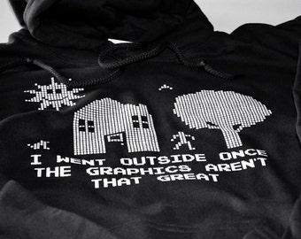Gaming Hoodie for Men Teens and Boys Videogame hoodies sweatshirt black fleece video game geekery clothing for him birthday gift