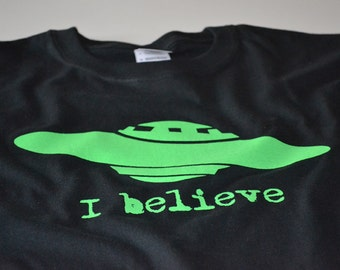Science UFO spaceship aliens shirt for boys or girls neon tshirt birthday gift for kids