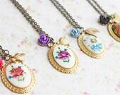 Vintage Floral Charm Necklace.  Bridesmaids Necklaces, Spring, Weddings, Favors. Bohemian Necklace. Romantic