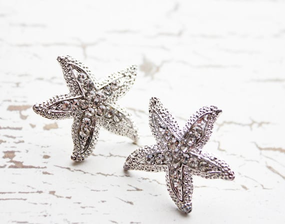 Starfish Earrings. Rhinestones. Beach Wedding. Destination Wedding. Bridesmaids Earrings. Sterling Silver Post Earrings.Whimsical.