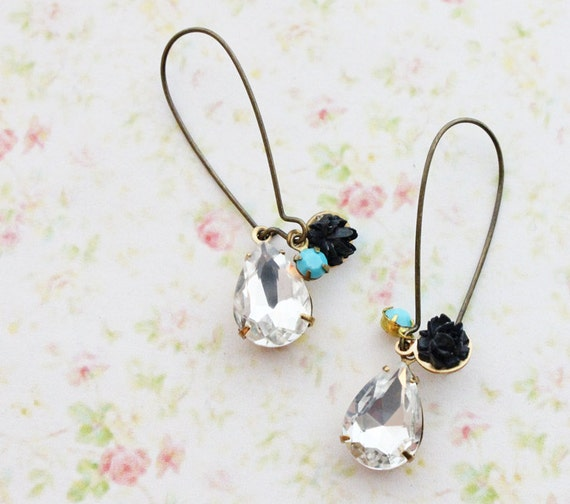 Bohemian Sparkles Earrings. Vintage Faceted Crystal Clear Glass Jewel. Spring. Black and Blue.Summer, Fashion, Gifts for Her. Boho Chic.