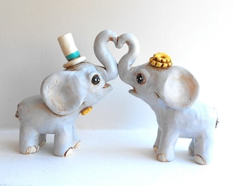 Pale Gray Elephants in Love wedding cake topper with aqua and lemon yellow accents
