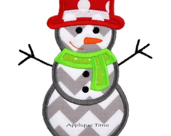 Instant Download Snowman Machine Embroidery Applique Design 4x4, 5x7 and 6x10