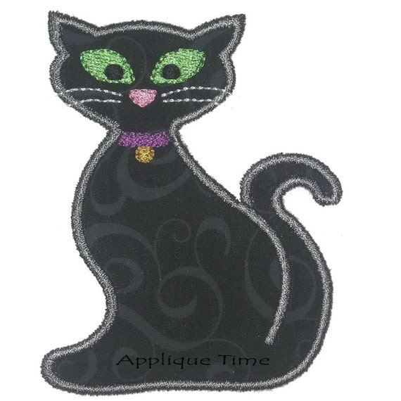 Instant download halloween cat machine embroidery applique