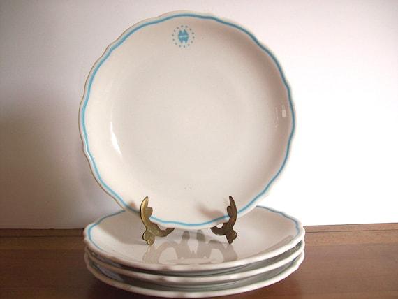 Vintage RestaurantWare Plates, Montgomery Ward, Aqua and White