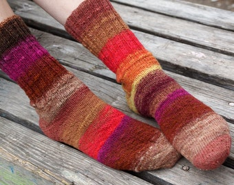 Hand knitted women wool Socks colorful stripes autumn fashion red brown Noro