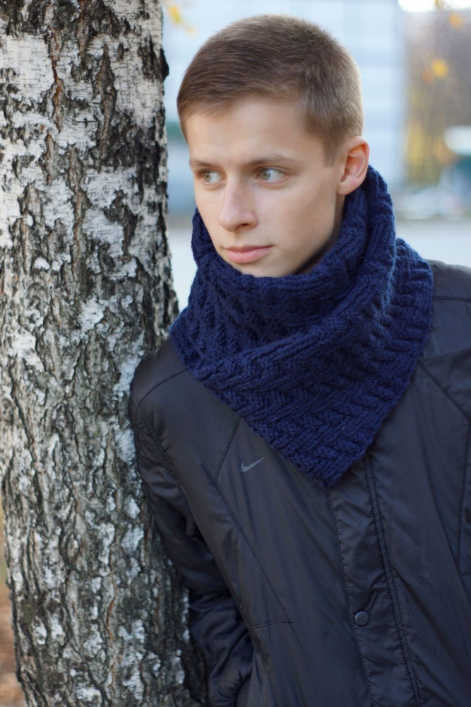 Hand knit Mens dark blue Scarf for him winter by SockClub on Etsy Hand Knitted Men's Scarves
