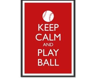 Baseball Poster - Keep Calm and Carry On Poster - Keep Calm and Play Ball - Sports Poster - Multiple COLORS - 13x19 Art Print