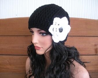 Womens Hat Crochet Hat Winter Fashion Accessories Women Beanie Hat Cloche Hat in Black with White Crochet Flower