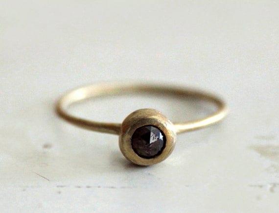Chocolate Brownie rose cut diamond ring. An earthy stone. Beya.