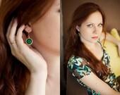 everyday jewelry emerald green jade stone earrings simple, elegant ,feminine israel