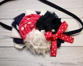 Hot pink, navy blue, and white rosette, ruffle, and shabby chiffon bow, headband, hair clip, infant, toddler, girl, adult, photography prop