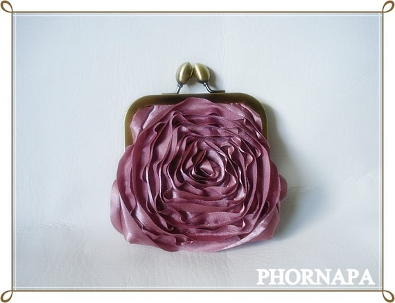 Christmas Gift Dusty Rose Rosette coin pouch   Ready to Ship