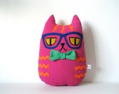Hipster Cat Pillow Plush // Kat // Hot Pink Orange Ric Rac Stripes Blue Glasses Green Bow Tie // Felt Fabric Embroidered