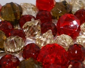 Holiday Acrylic Diamonds Mix -  Red Acrylic Diamond,  Champagne Acrylic Diamonds - Rich Amber Teardrops - Red Faceted Spheres - 25ct Package